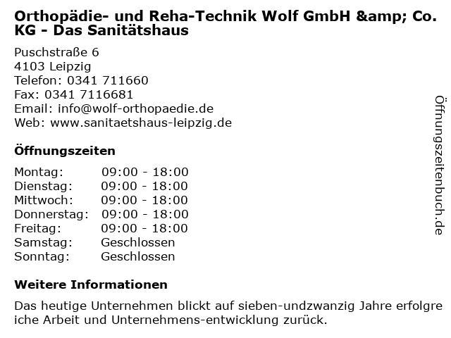 Orthopädie- und Reha-Technik Wolf GmbH & Co. KG - Das Sanitätshaus in Leipzig: Adresse und Öffnungszeiten