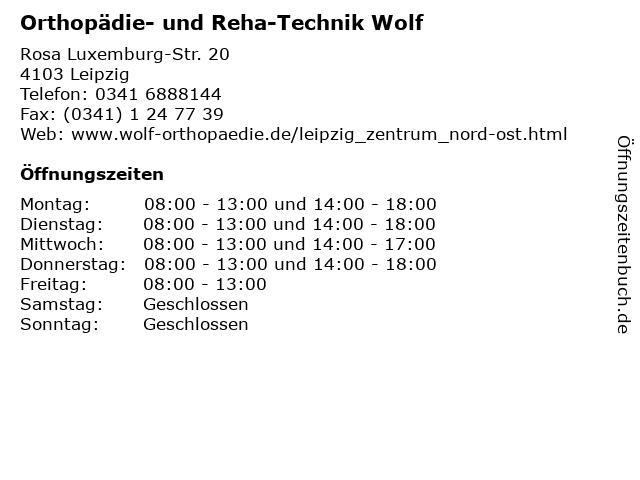 Orthopädie- und Reha-Technik Wolf in Leipzig: Adresse und Öffnungszeiten
