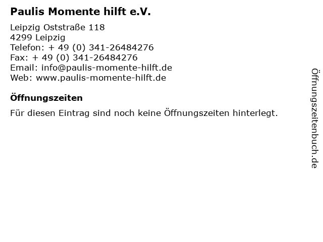 Paulis Momente hilft e.V. in Leipzig: Adresse und Öffnungszeiten