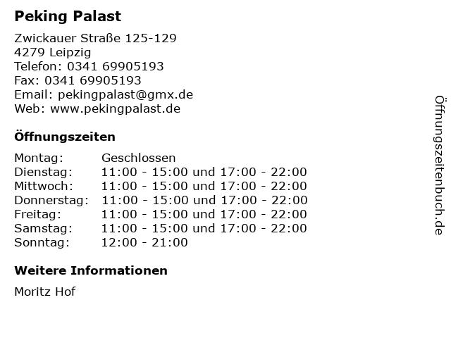 Peking Palast in Leipzig: Adresse und Öffnungszeiten