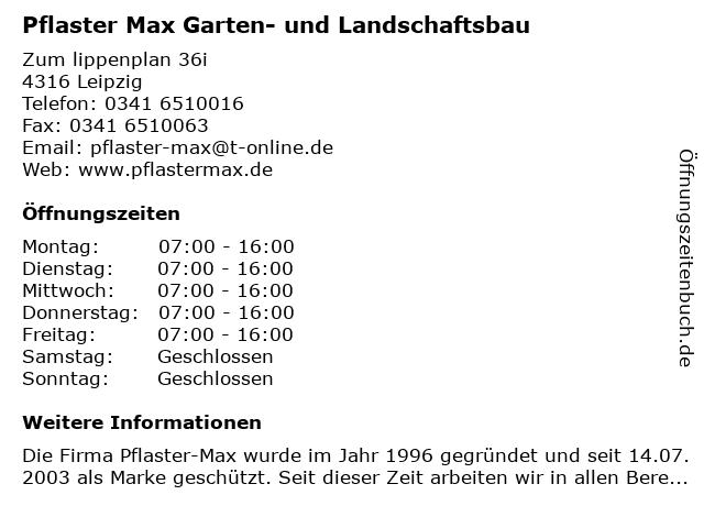ᐅ Offnungszeiten Pflaster Max Garten Und Landschaftsbau