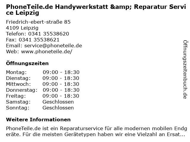 PhoneTeile.de Handywerkstatt & Reparatur Service Leipzig in Leipzig: Adresse und Öffnungszeiten