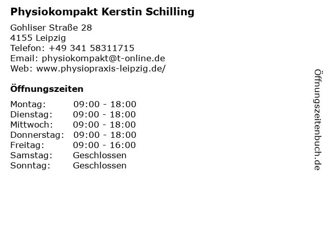 Physiokompakt Kerstin Schilling in Leipzig: Adresse und Öffnungszeiten
