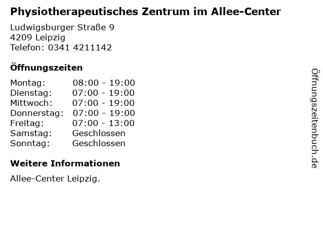 Physiotherapeutisches Zentrum im Allee-Center in Leipzig: Adresse und Öffnungszeiten