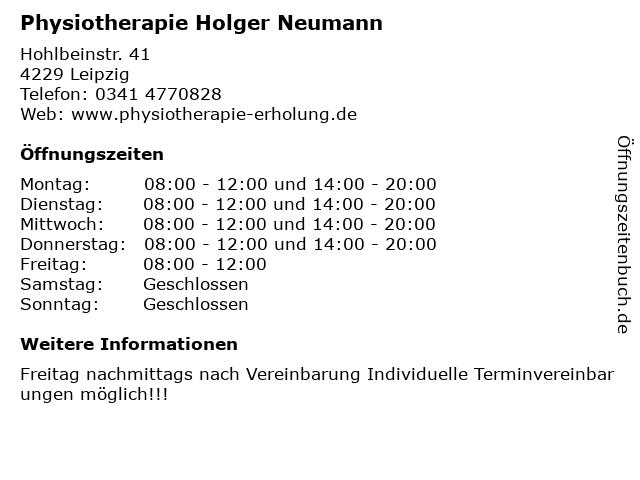 Physiotherapie Holger Neumann in Leipzig: Adresse und Öffnungszeiten