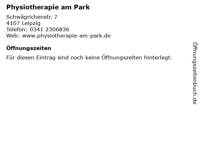 Physiotherapie am Park in Leipzig: Adresse und Öffnungszeiten