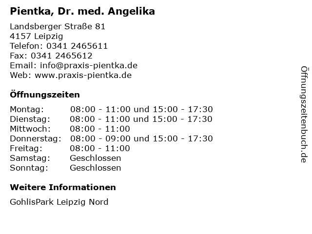 Pientka, Dr. med. Angelika in Leipzig: Adresse und Öffnungszeiten