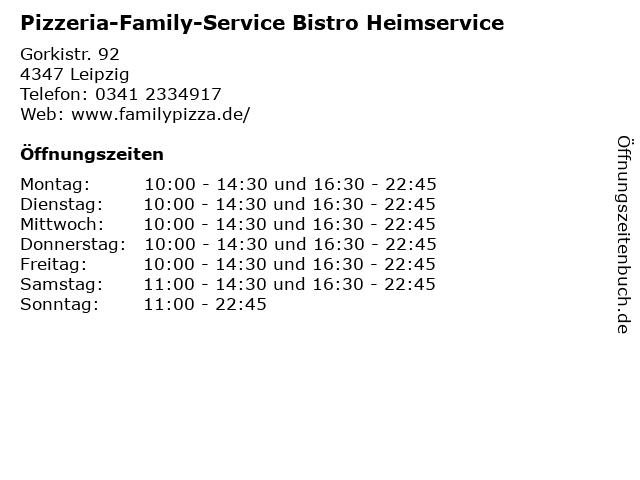 Pizzeria-Family-Service Bistro Heimservice in Leipzig: Adresse und Öffnungszeiten