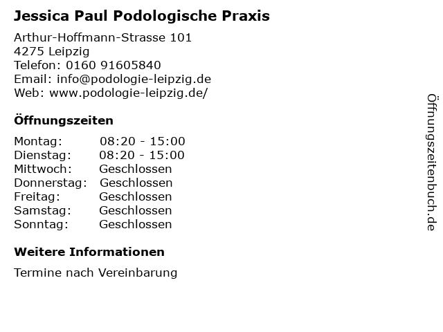 Podologische Praxis Jessica Paul in Leipzig: Adresse und Öffnungszeiten