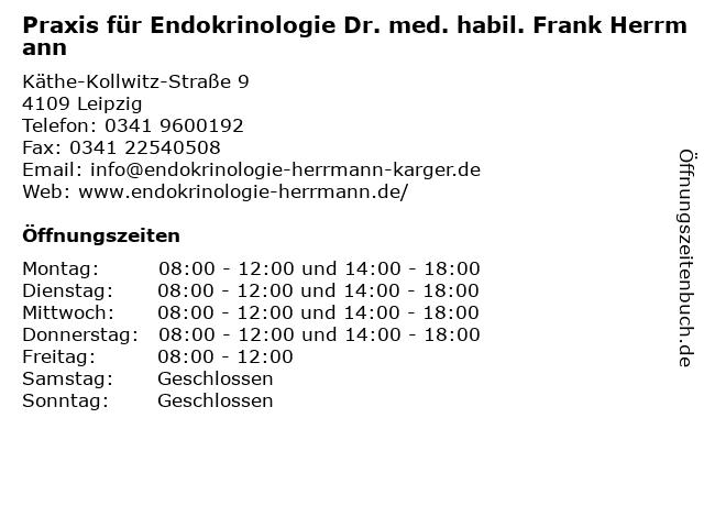 Praxis für Endokrinologie Dr. med. habil. Frank Herrmann in Leipzig: Adresse und Öffnungszeiten