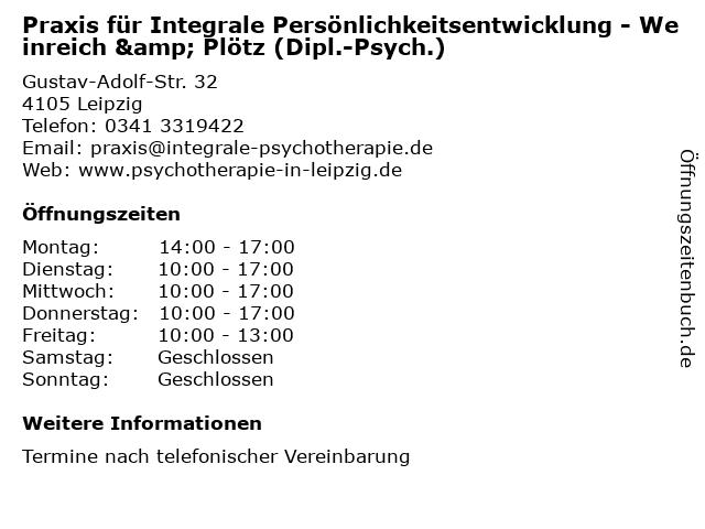 Praxis für Integrale Persönlichkeitsentwicklung - Weinreich & Plötz (Dipl.-Psych.) in Leipzig: Adresse und Öffnungszeiten
