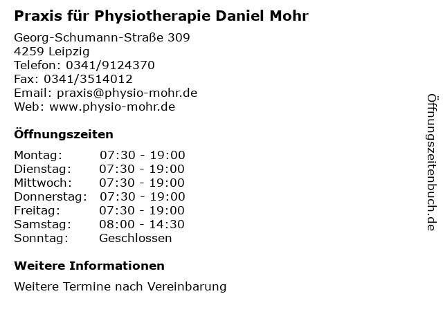 Praxis für Physiotherapie Daniel Mohr in Leipzig: Adresse und Öffnungszeiten