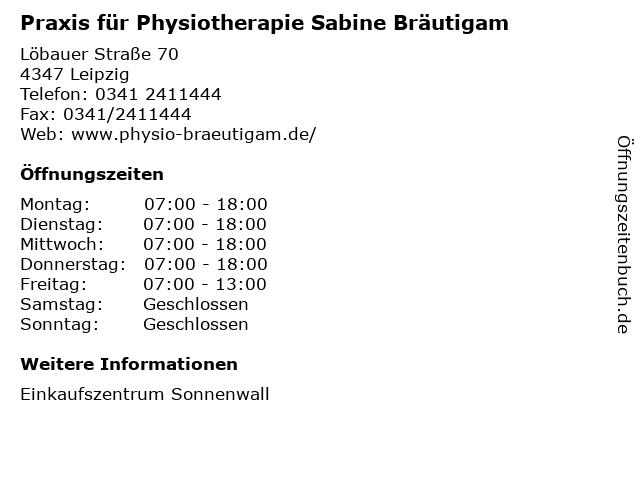 Praxis für Physiotherapie Sabine Bräutigam in Leipzig: Adresse und Öffnungszeiten