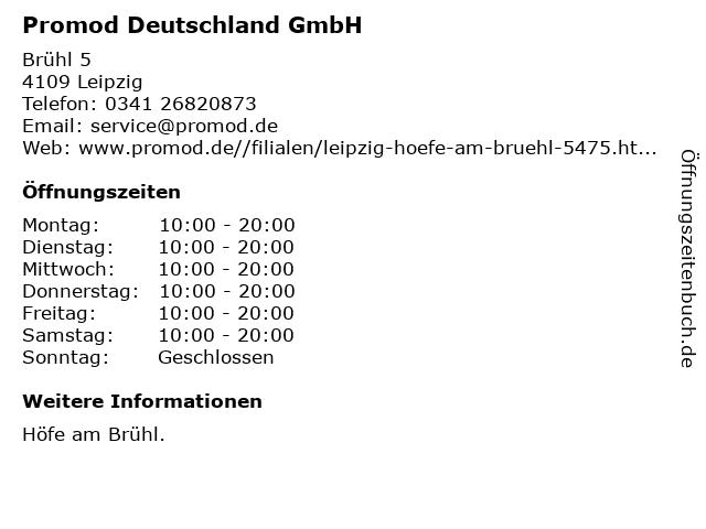 Promod Deutschland GmbH in Leipzig: Adresse und Öffnungszeiten
