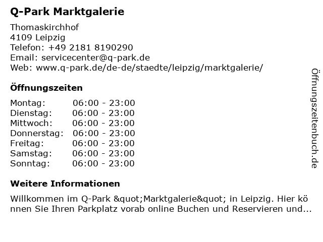 Q-Park Marktgalerie Tiefgarage in Leipzig: Adresse und Öffnungszeiten