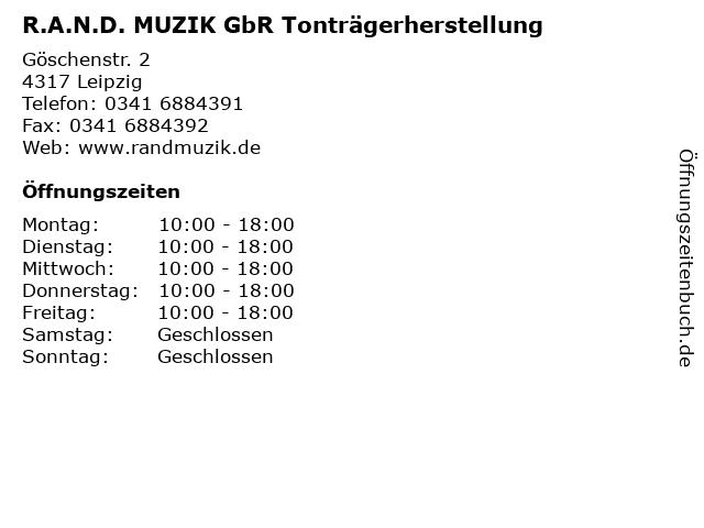 R.A.N.D. MUZIK GbR Tonträgerherstellung in Leipzig: Adresse und Öffnungszeiten
