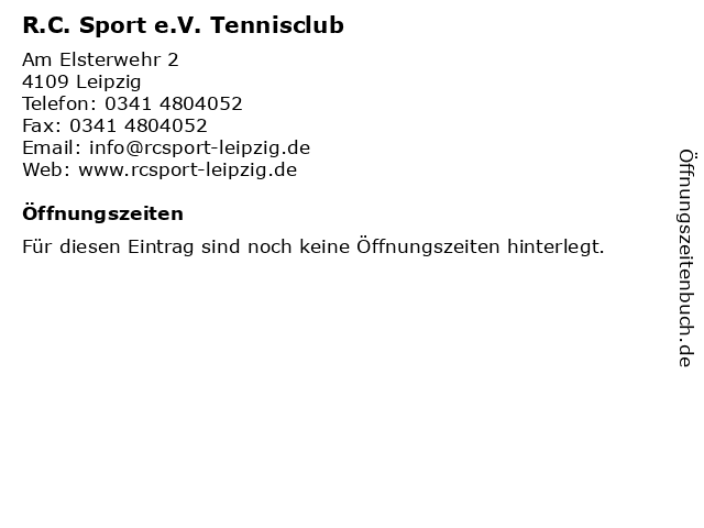 R.C. Sport e.V. Tennisclub in Leipzig: Adresse und Öffnungszeiten