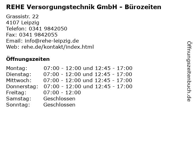 REHE Versorgungstechnik GmbH in Leipzig: Adresse und Öffnungszeiten