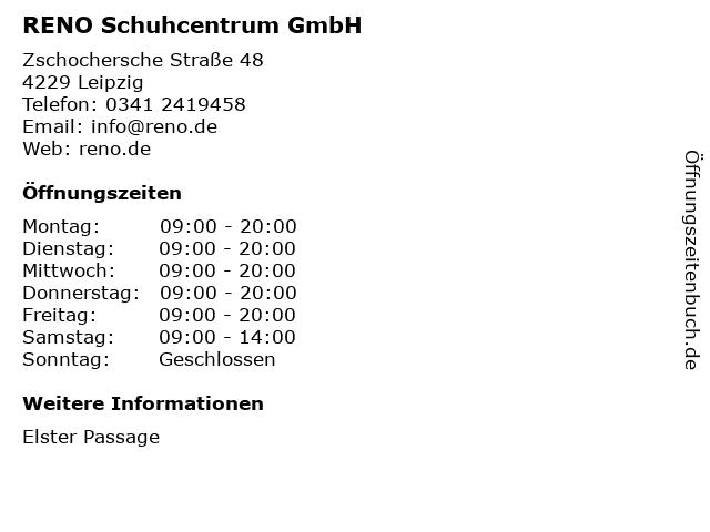 RENO Schuhcentrum GmbH in Leipzig: Adresse und Öffnungszeiten