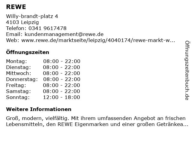 REWE Markt GmbH in Leipzig: Adresse und Öffnungszeiten