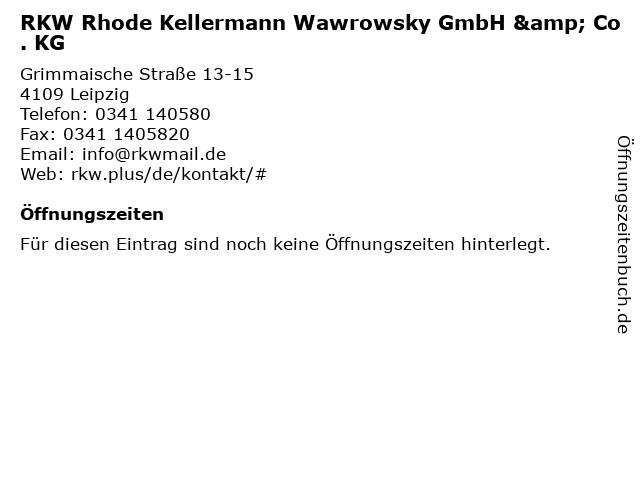 RKW Rhode Kellermann Wawrowsky GmbH & Co. KG in Leipzig: Adresse und Öffnungszeiten