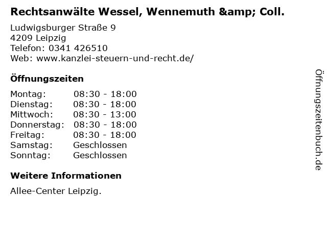 Rechtsanwälte Wessel, Wennemuth & Coll. in Leipzig: Adresse und Öffnungszeiten
