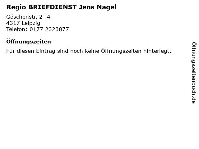 Regio BRIEFDIENST Jens Nagel in Leipzig: Adresse und Öffnungszeiten