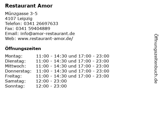 Restaurant Amor in Leipzig: Adresse und Öffnungszeiten