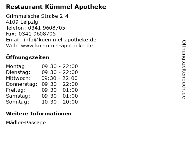 Restaurant Kümmel Apotheke in Leipzig: Adresse und Öffnungszeiten
