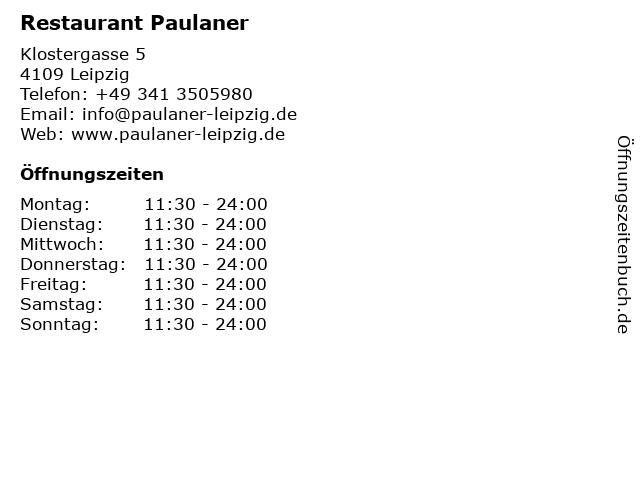 Restaurant Paulaner in Leipzig: Adresse und Öffnungszeiten
