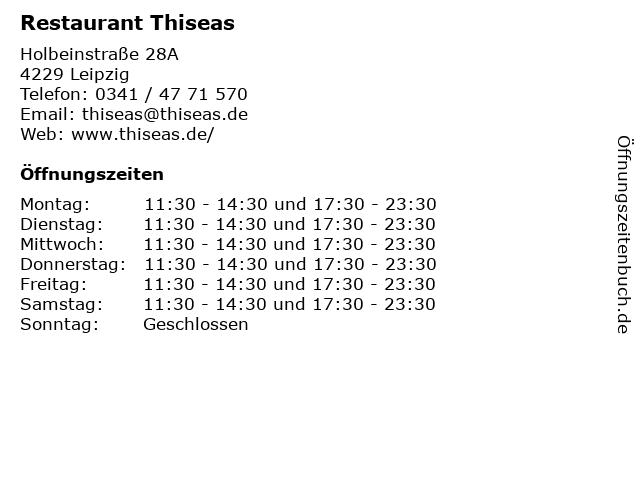 Restaurant Thiseas in Leipzig: Adresse und Öffnungszeiten
