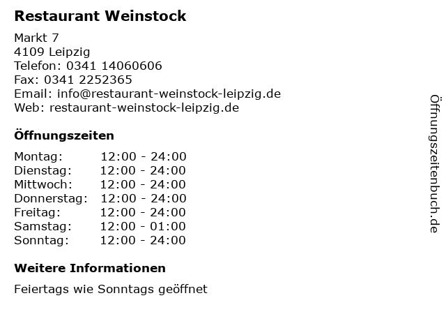 Restaurant Weinstock in Leipzig: Adresse und Öffnungszeiten