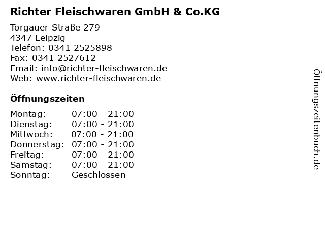 Richter Fleischwaren GmbH & Co.KG in Leipzig: Adresse und Öffnungszeiten