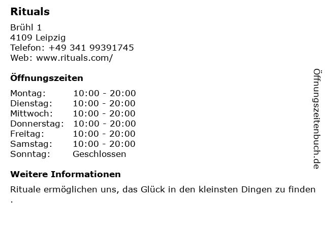 Rituals Cosmetics Germany GmbH in Leipzig: Adresse und Öffnungszeiten