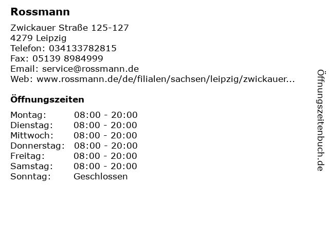 Dirk Rossmann GmbH in Leipzig: Adresse und Öffnungszeiten