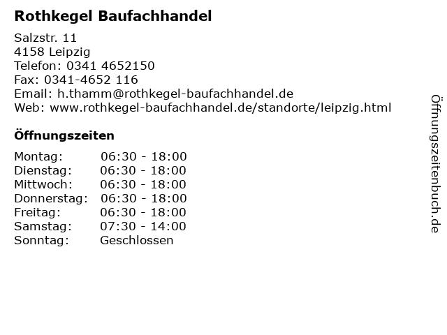 Rothkegel Baufachhandel in Leipzig: Adresse und Öffnungszeiten