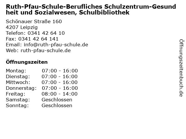 Ruth-Pfau-Schule-Berufliches Schulzentrum-Gesundheit und Sozialwesen, Schulbibliothek in Leipzig: Adresse und Öffnungszeiten