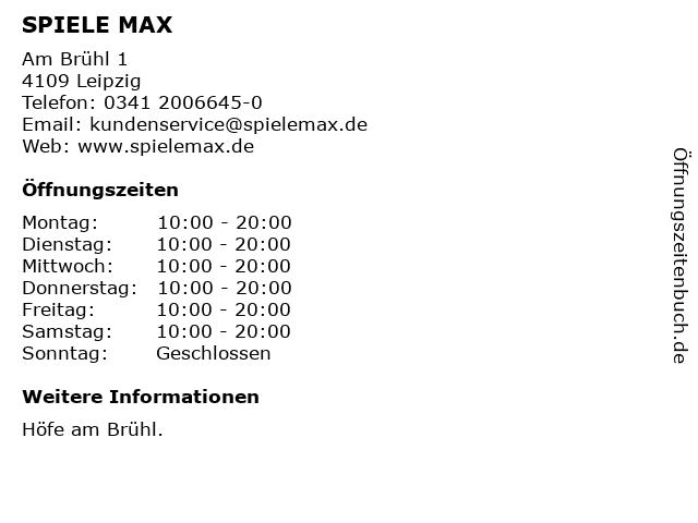 SPIELE MAX AG in Leipzig: Adresse und Öffnungszeiten