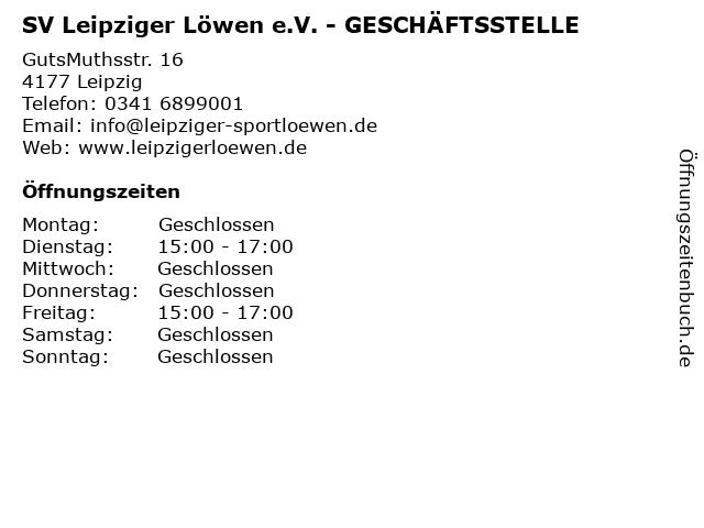 SV Leipziger Löwen e.V. - GESCHÄFTSSTELLE in Leipzig: Adresse und Öffnungszeiten