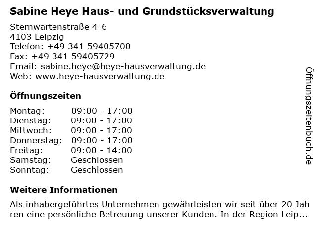 Sabine Heye Haus- und Grundstücksverwaltung in Leipzig: Adresse und Öffnungszeiten