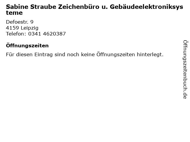 Sabine Straube Zeichenbüro u. Gebäudeelektroniksysteme in Leipzig: Adresse und Öffnungszeiten
