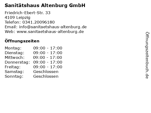 Sanitätshaus Altenburg GmbH in Leipzig: Adresse und Öffnungszeiten