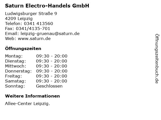 Saturn Electro-Handels GmbH in Leipzig: Adresse und Öffnungszeiten