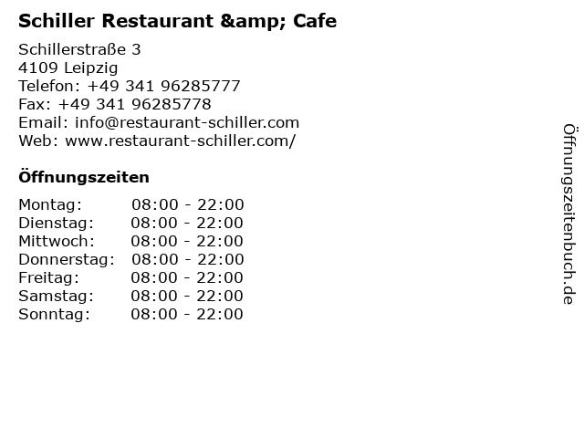 Schiller Restaurant & Cafe in Leipzig: Adresse und Öffnungszeiten