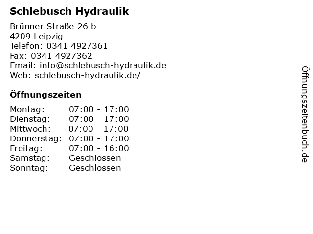 Schlebusch Hydraulik in Leipzig: Adresse und Öffnungszeiten