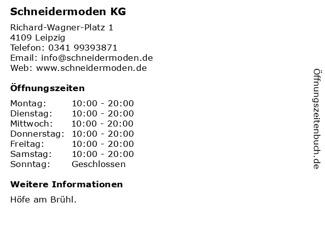 Schneidermoden KG in Leipzig: Adresse und Öffnungszeiten