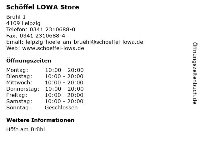 Schöffel LOWA Store in Leipzig: Adresse und Öffnungszeiten