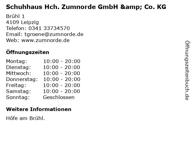 Schuhhaus Hch. Zumnorde GmbH & Co. KG in Leipzig: Adresse und Öffnungszeiten