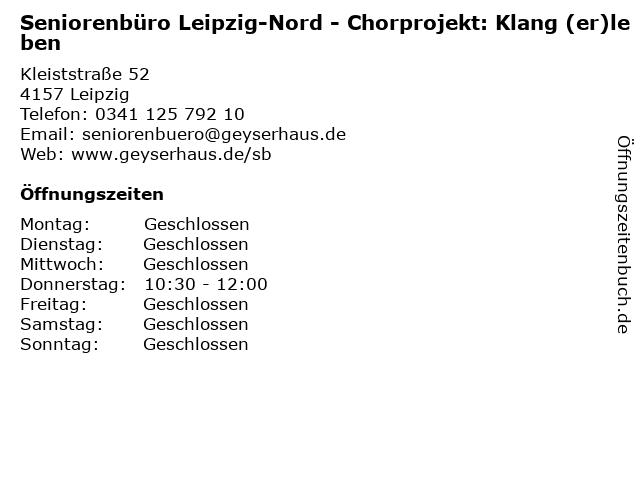 Seniorenbüro Leipzig-Nord - Chorprojekt: Klang (er)leben in Leipzig: Adresse und Öffnungszeiten