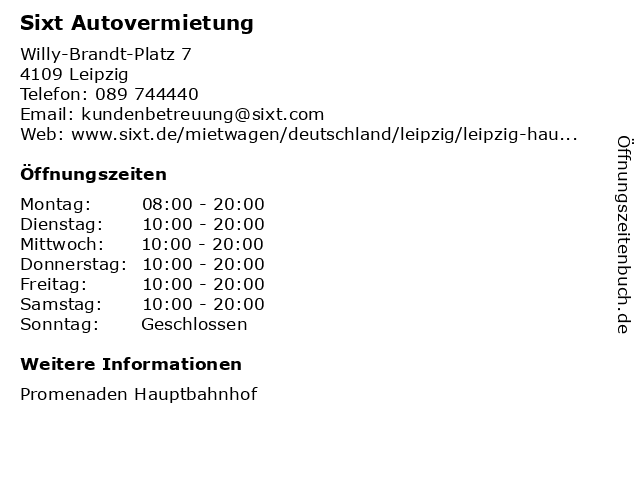 Sixt GmbH & Co. Autovermietung KG in Leipzig: Adresse und Öffnungszeiten